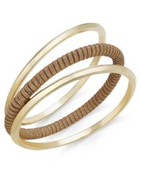 INC International Concepts - Metallic Gold-tone Solid And Faux-suede Wrapped Bangle Bracelet Trio, Only At Macy's - Lyst