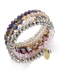 INC International Concepts | Multicolor Gold-tone Mauve And Metallic Beaded Coil Bracelet, Only At Macy's | Lyst