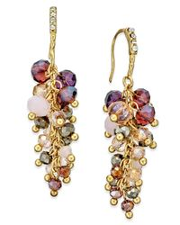 INC International Concepts | Metallic Gold-tone Mauve Stone And Crystal Cluster Drop Earrings | Lyst