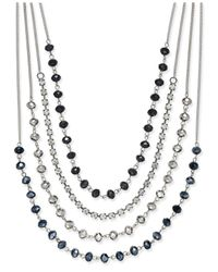 INC International Concepts | Blue Silver-tone Multi-row Jet Stone And Crystal Statement Necklace, Only At Macy's | Lyst