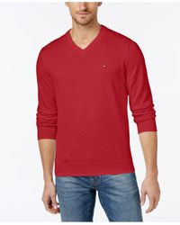 Tommy Hilfiger - Red Signature Solid V-neck Sweater for Men - Lyst