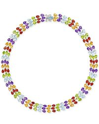 Macy's | Metallic Multi-gemstone Three Row Collar Necklace (90 Ct. T.w.) In Sterling Silver | Lyst