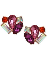 Betsey Johnson | Multicolor Rose Gold-tone Faceted Stone Cluster Stud Earrings | Lyst