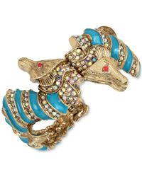 Betsey Johnson | Metallic Gold-tone And Blue Enamel Sea Horse Hinged Bangle Bracelet | Lyst