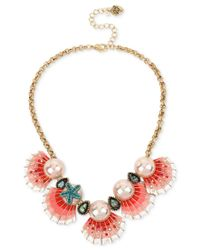 Betsey Johnson - Red Gold-tone Imitation Pearl And Seashell Statement Necklace - Lyst