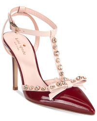kate spade new york | Red Lydia T-strap Sandals | Lyst