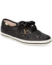 kate spade new york | Black Glitter Lace-up Sneakers | Lyst