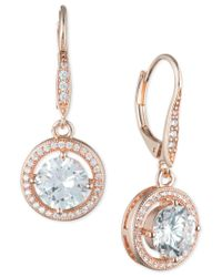 Anne Klein | Multicolor Round Crystal And Pave Drop Earrings | Lyst