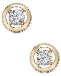 Macy's | Metallic Cubic Zirconia Round Stud Earrings In 10k Gold | Lyst