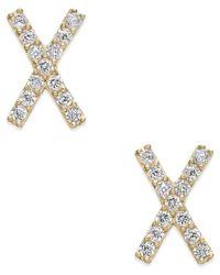 Macy's | Metallic Cubic Zirconia Crisscross Stud Earrings In 10k Gold | Lyst