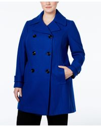 Anne Klein | Blue Plus Size Double-breasted Peacoat, Only At Macy's | Lyst