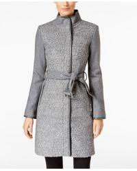 Vince Camuto | Gray Faux-leather-trim Bouclé Coat | Lyst