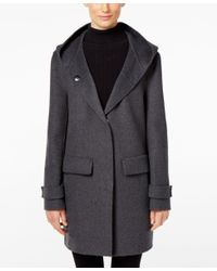 Jones New York | Gray Double-faced Hooded Wool Walker Coat | Lyst