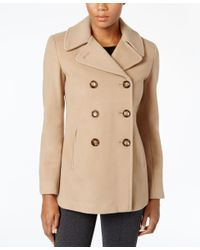 Calvin Klein   Natural Wool-cashmere Double-breasted Peacoat, Only At Macy's   Lyst