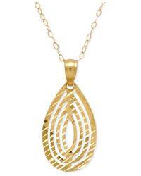 Macy's | Metallic Cut-out Teardrop Pendant Necklace In 10k Gold | Lyst