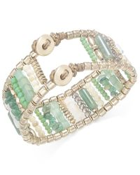 INC International Concepts - Gold-tone Green Beaded Bracelet, Only At Macy's - Lyst