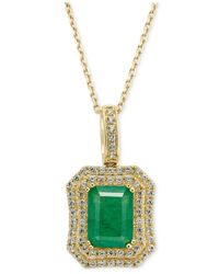 Macy's | Metallic Emerald (1-1/2 Ct. T.w.) And White Sapphire (1 Ct. T.w.) Rectangular Pendant Necklace In 14k Gold | Lyst