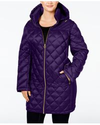 Michael Kors   Purple Michael Plus Size Hooded Diamond-quilted Packable Down Coat   Lyst