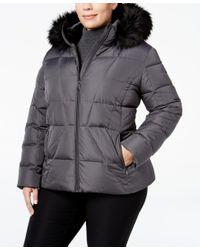 Calvin Klein | Gray Plus Size Faux-fur-trim Down Puffer Coat | Lyst