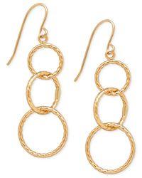 Macy's | Metallic Textured Triple Link Drop Earrings In 10k Gold | Lyst