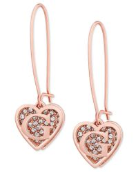 Guess | Metallic Rose Gold-tone Pave Heart Logo Drop Earrings | Lyst