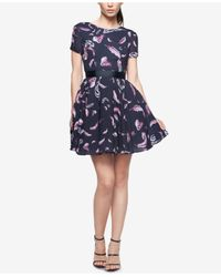 Fame & Partners   Black Printed Fit & Flare Dress   Lyst