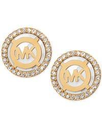 Michael Kors   Metallic Mother-of-pearl And Pavé Logo Stud Earrings   Lyst