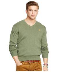Polo Ralph Lauren | Green Pima V-neck Sweater for Men | Lyst