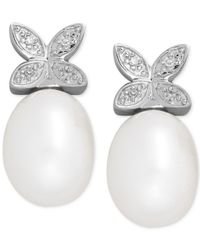 Macy's | Metallic Cultured Freshwater Pearl (9 X 7mm) And Diamond Accent Butterfly Stud Earrings In Sterling Silver | Lyst