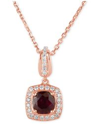Macy's | Metallic Ruby (3/4 Ct. T.w.) And Diamond (1/5 Ct. T.w.) Square Drop Pendant Necklace In 14k Rose Gold | Lyst