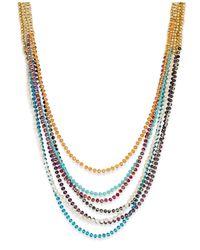 ABS By Allen Schwartz - Metallic Gold-tone 7-row Beaded Necklace - Lyst