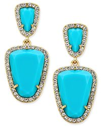 ABS By Allen Schwartz | Gold-tone Blue Stone Double-drop Earrings | Lyst