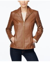 Cole Haan | Brown Leather Moto Jacket | Lyst