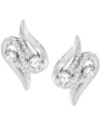 Wrapped in Love - Metallic Diamond Squiggle Earrings (1/2 Ct. T.w.) In 14k White Gold - Lyst