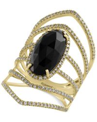 Effy Collection | Metallic Eclipse By Effy Onyx (4-3/8 Ct. T.w.) And Diamond (3/4 Ct. T.w.) Statement Ring In 14k Gold | Lyst
