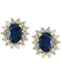 Effy Collection | Metallic Royale Bleu Sapphire (2-7/8 Ct. T.w.) And Diamond (5/8 Ct. T.w.) Stud Earrings In 14k Gold | Lyst