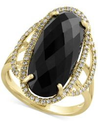 Effy Collection | Multicolor Eclipse By Effy Onyx (6-3/8 Ct. T.w.) And Diamond (1/4 Ct. T.w.) Statement Ring In 14k Gold | Lyst
