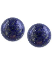 Effy Collection   Blue Effy Lapis Lazuli (10mm) Button Stud Earrings In 14k Gold   Lyst