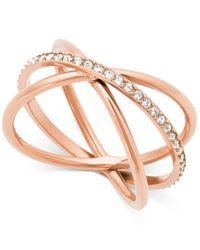 Michael Kors | Metallic Rose Gold-tone Pave Crisscross Statement Ring | Lyst