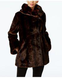 Jones New York   Brown Faux-fur Asymmetrical Coat   Lyst