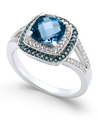 Macy's | Metallic London Blue Topaz (1-3/4 Ct. T.w.) And Diamond (1/4 Ct. T.w.) Double Halo Ring In 14k White Gold | Lyst