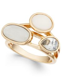 INC International Concepts - Metallic Gold-tone White Stone And Crystal Statement Ring, Only At Macy's - Lyst