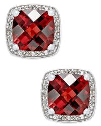 Macy's | Red Rhodolite Garnet (2-1/4 Ct. T.w.) And Diamond (1/8 Ct. T.w.) Halo Stud Earrings In Sterling Silver | Lyst