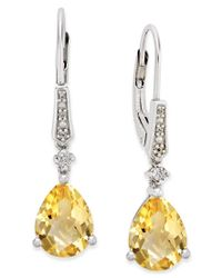 Macy's | Metallic Citrine (3 Ct. T.w.) And Diamond Accent Drop Earrings In Sterling Silver | Lyst