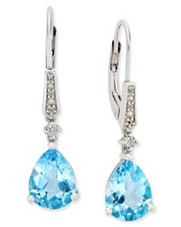 Macy's | Blue Topaz (3-5/8 Ct. T.w.) And Diamond Accent Drop Earrings In Sterling Silver | Lyst