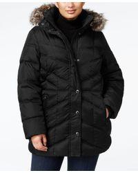 London Fog   Black Plus Size Faux-fur Hooded Puffer Coat   Lyst