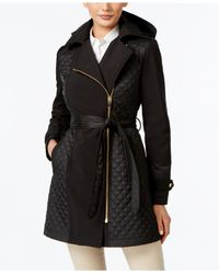Via Spiga | Black Mixed-media Quilted Asymmetrical Coat | Lyst