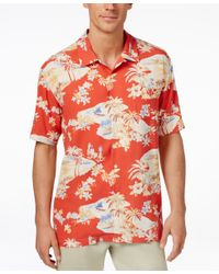 Tommy Bahama - Multicolor Men's Lazy Luau Tropical-print Silk Short-sleeve Shirt for Men - Lyst