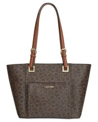 Calvin Klein | Natural Monogram East West Tote | Lyst