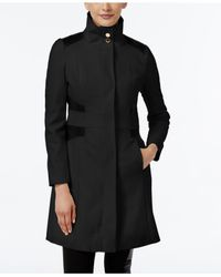 Via Spiga | Black Faux-leather-trim Wool-blend Walker Coat | Lyst